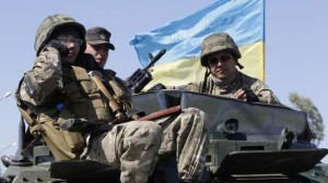 """Soldiers of Ukrainian self-defence battalion """"Azov"""" guard their position at a checkpoint in the southern coastal town of Mariupol"""